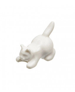 White Crouching Cat